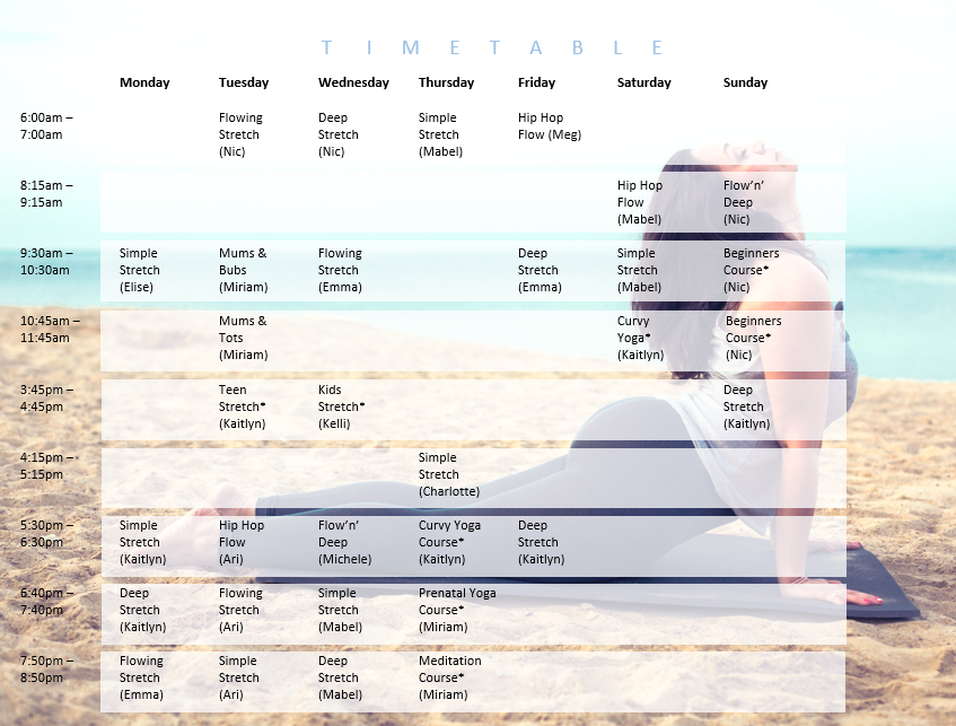 Stretch Yoga Timetable